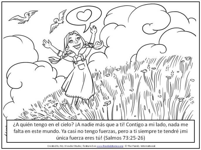 niña alabando a Dios
