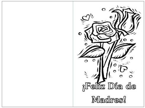 blanco negro tarjeta dia de madres rosas