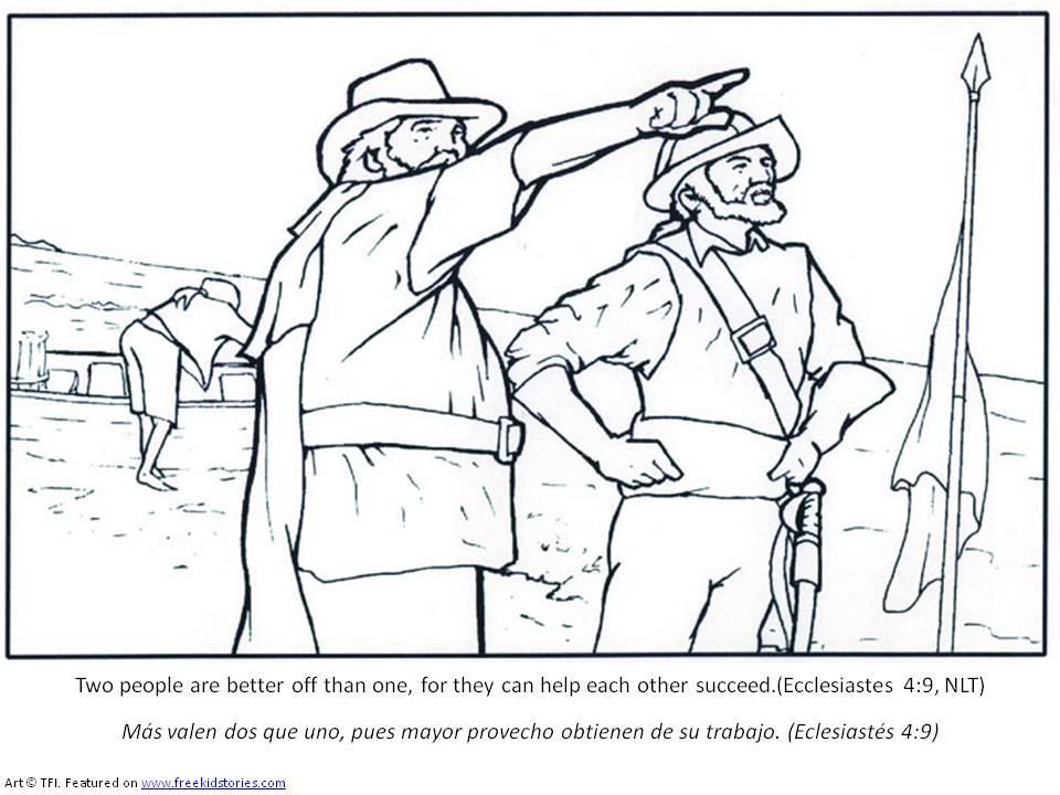 Los Peregrinos y los Indios – Paginas para Pintar – Free Kids Stories
