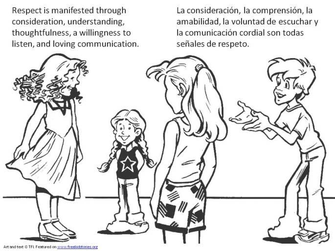 Valores Morales niños: respeto - pagina para pintar 1