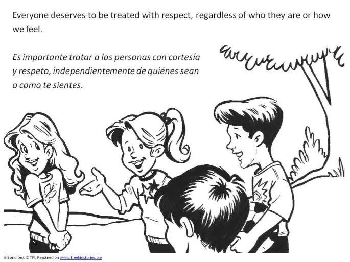 Valores Morales niños: respeto - pagina para pintar 2