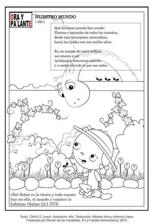 pagina pintar dia de tierra ninos 1