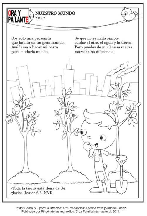 pagina pintar dia de tierra ninos 2