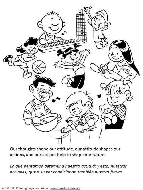 pensamiento positivo páginas para colorear niños