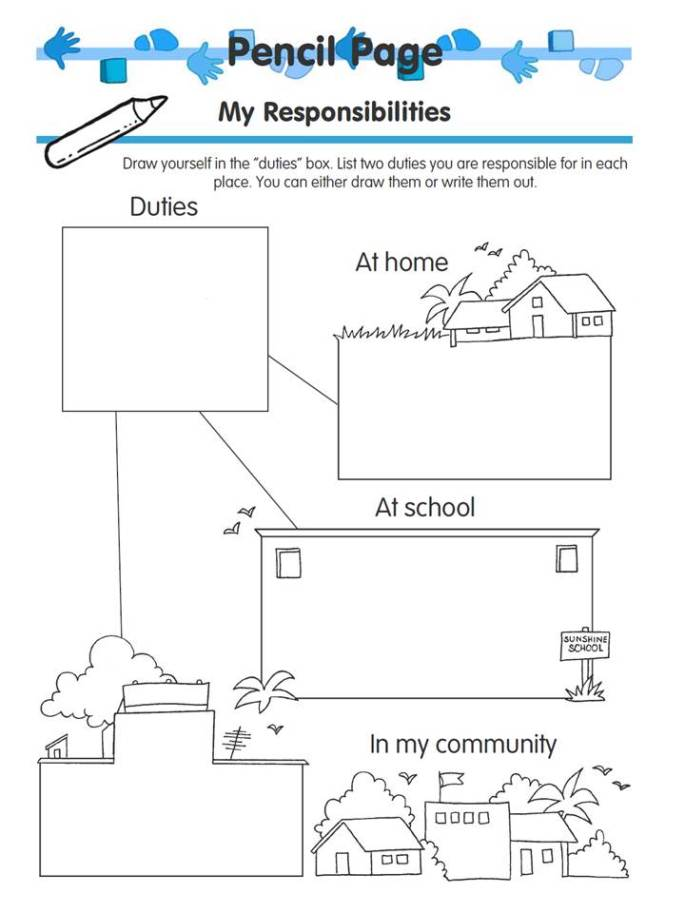 my responsibilities children's activity page free download