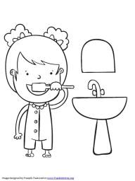 girl brushing her teeth coloring pages