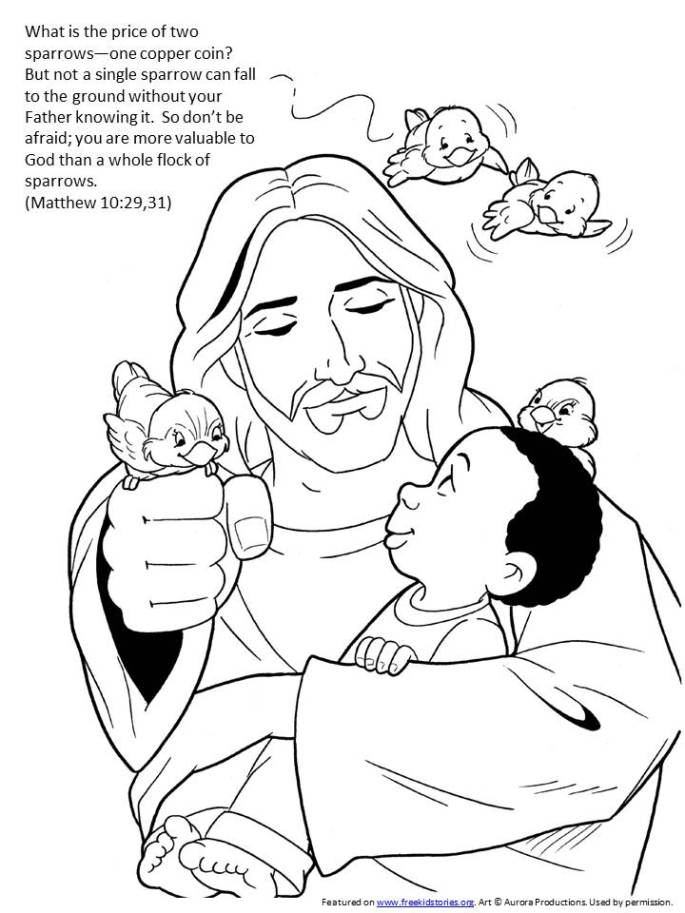 Sparrow bible verse coloring page
