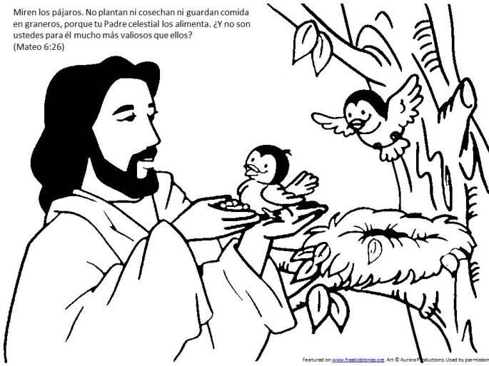 los gorriones pagina para pintar de la Biblia para niños