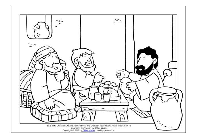 Jesus at Emmaus coloring page for children