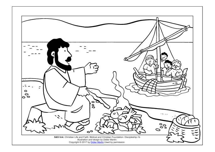 Picnic at the Beach Jesus and His Disciples coloring page for children