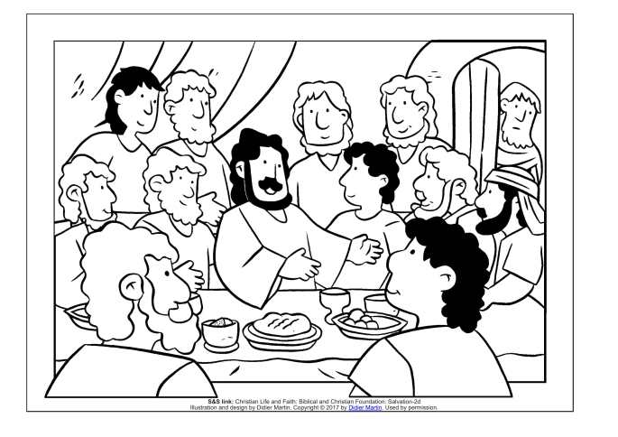 The Last Supper coloring page for children