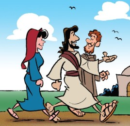 Jesus walking with disciples to Emmaus