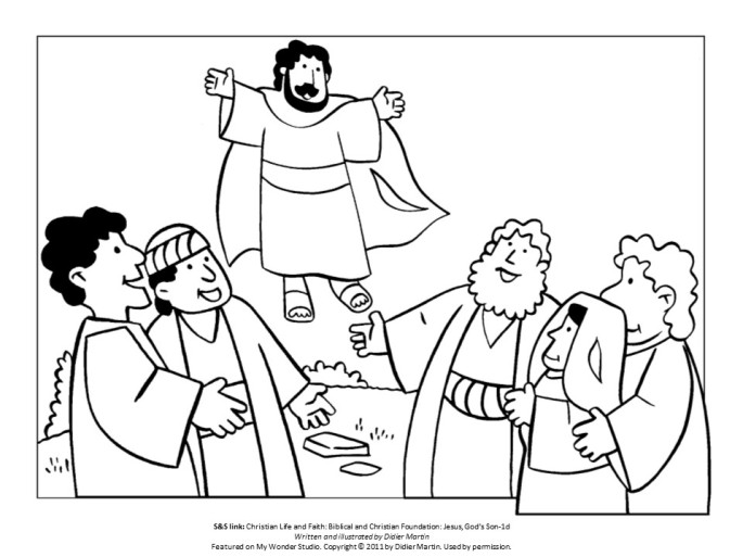 Jesus returns to Heaven coloring page for children