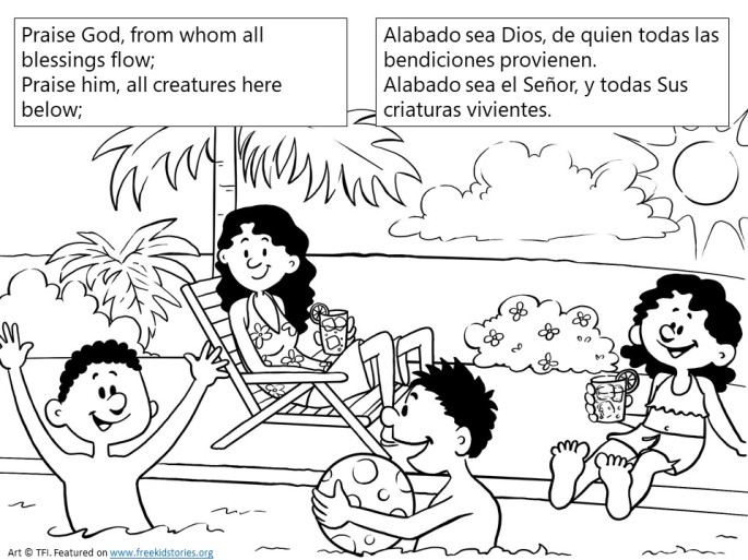 Alabado sea Dios pagina para pintar - Praise God from Whom All Blessings Flow coloring page 1