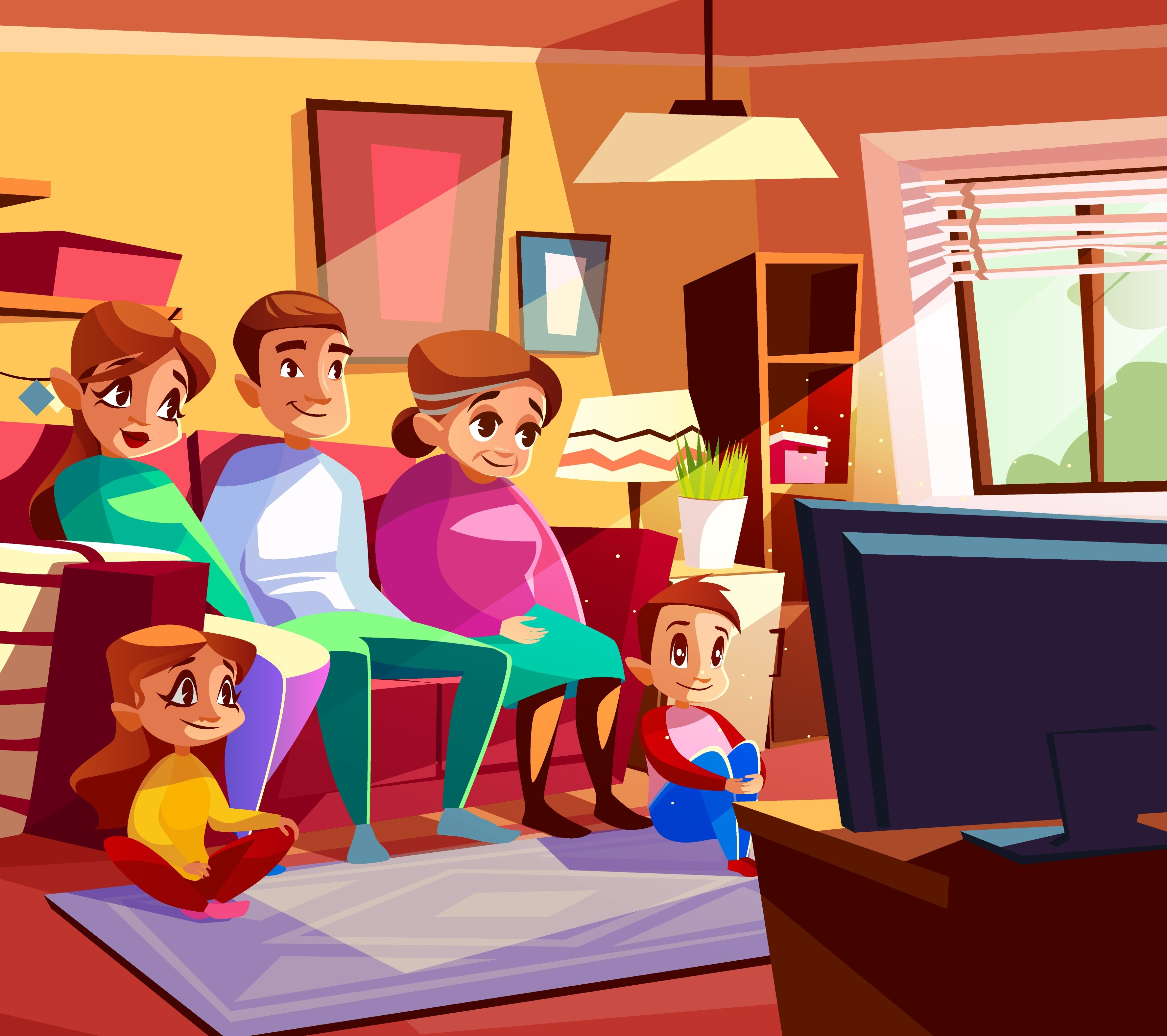 Family watching TV vector cartoon illustration